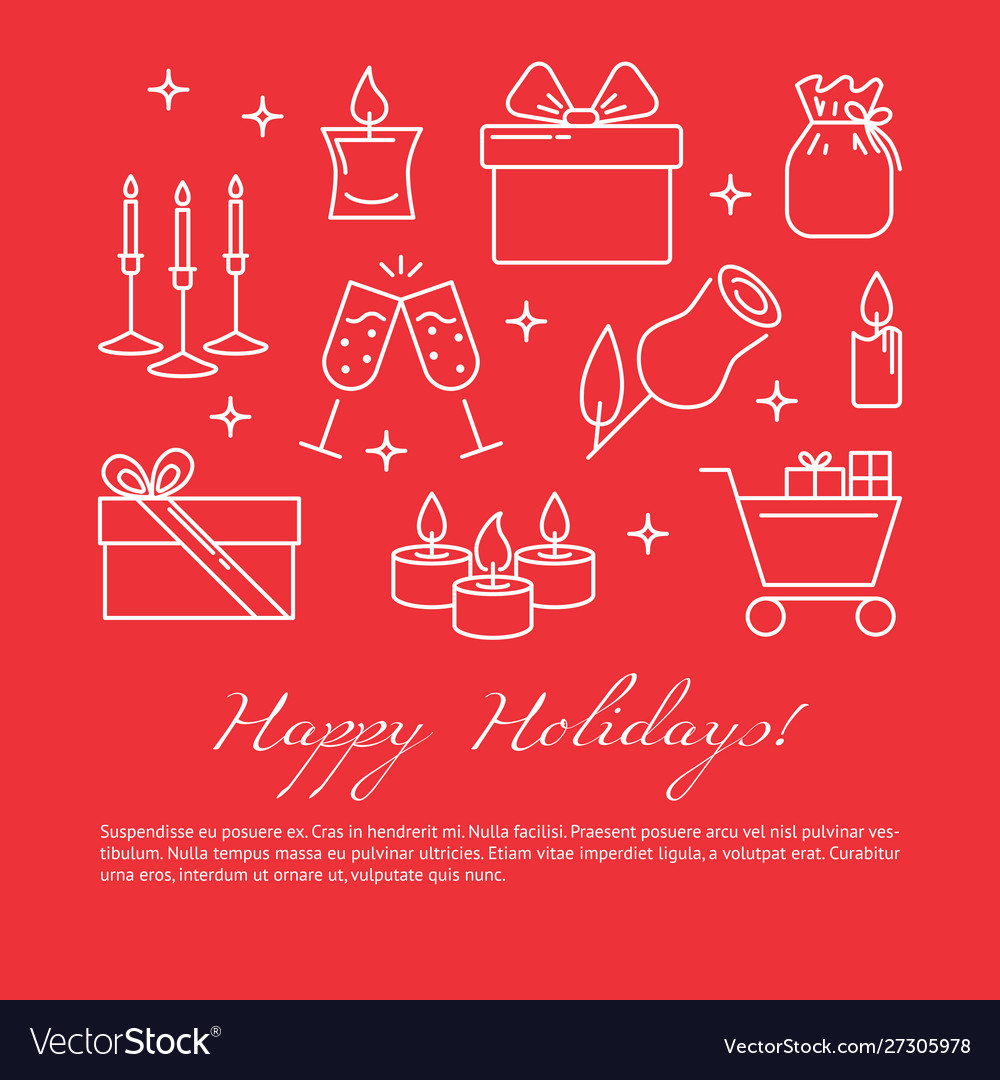 Happy holidays celebration concept poster in line