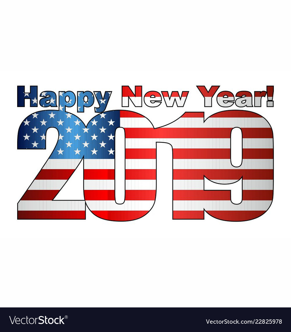 happy new year 2019 with usa flag inside vector image