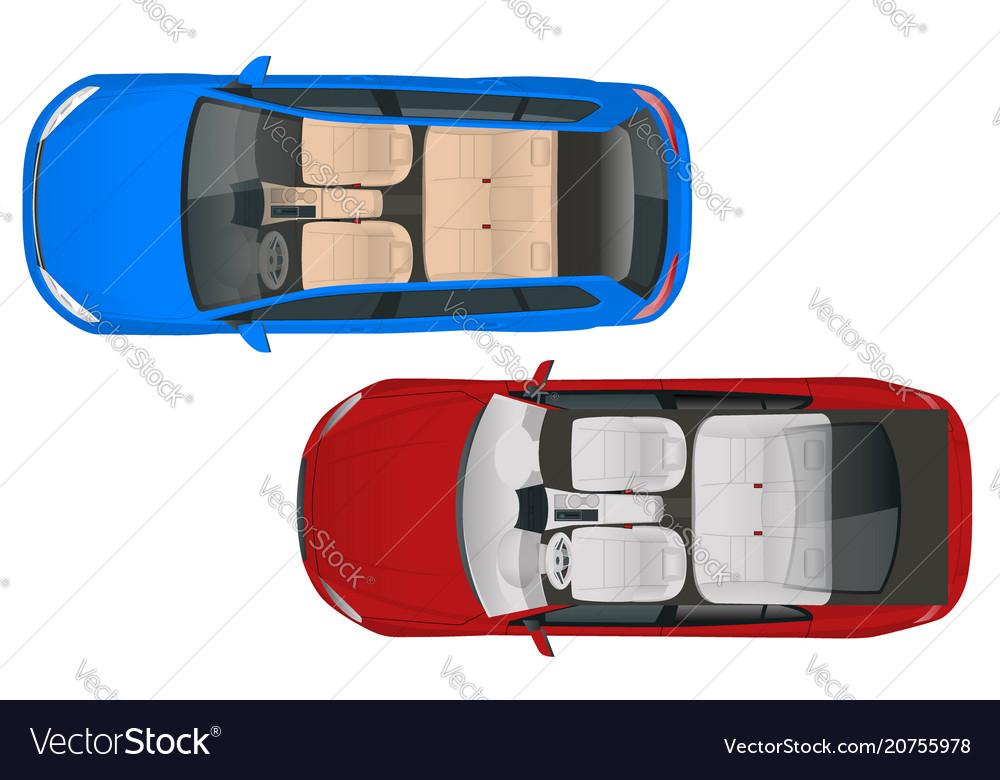Salon car wagon and salon car sedan view from