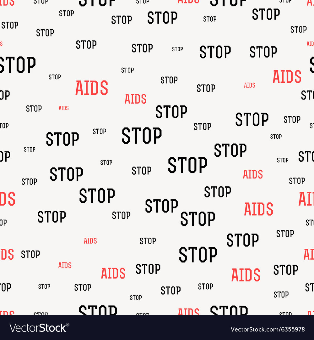Seamless pattern with the text against AIDS World