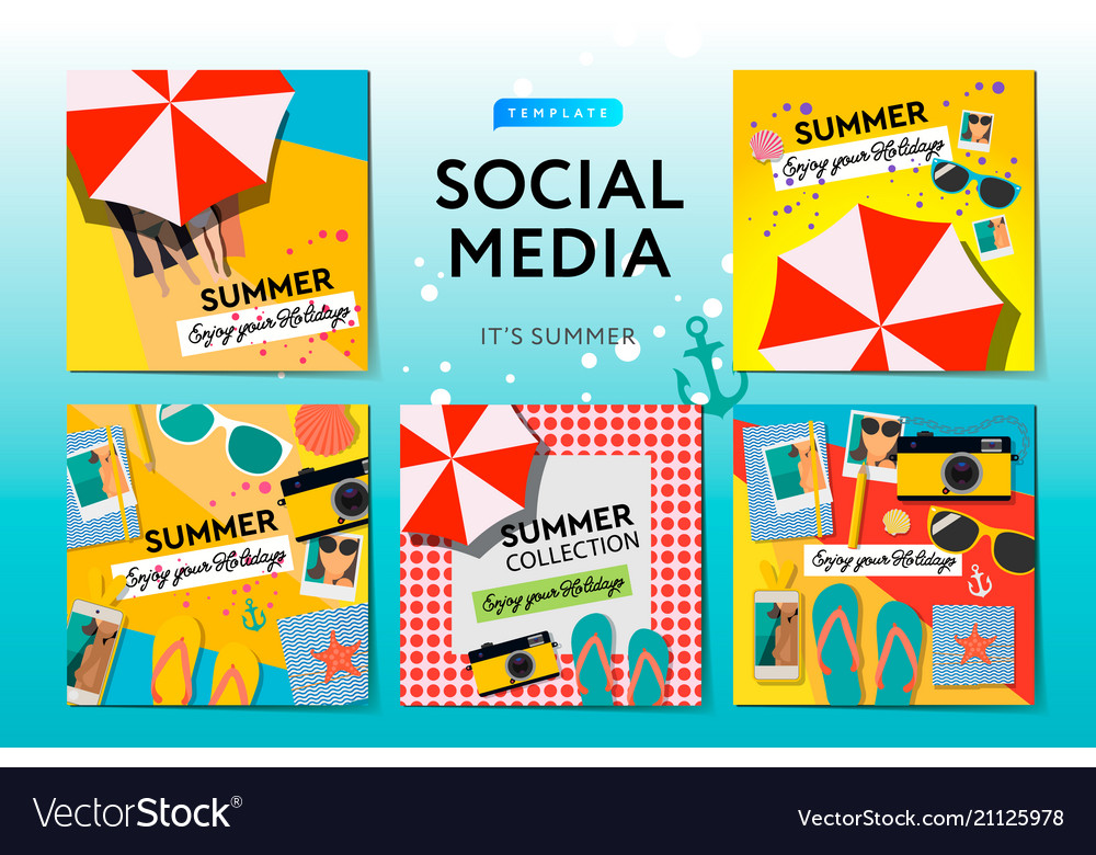 Social media templates summer time use for blog