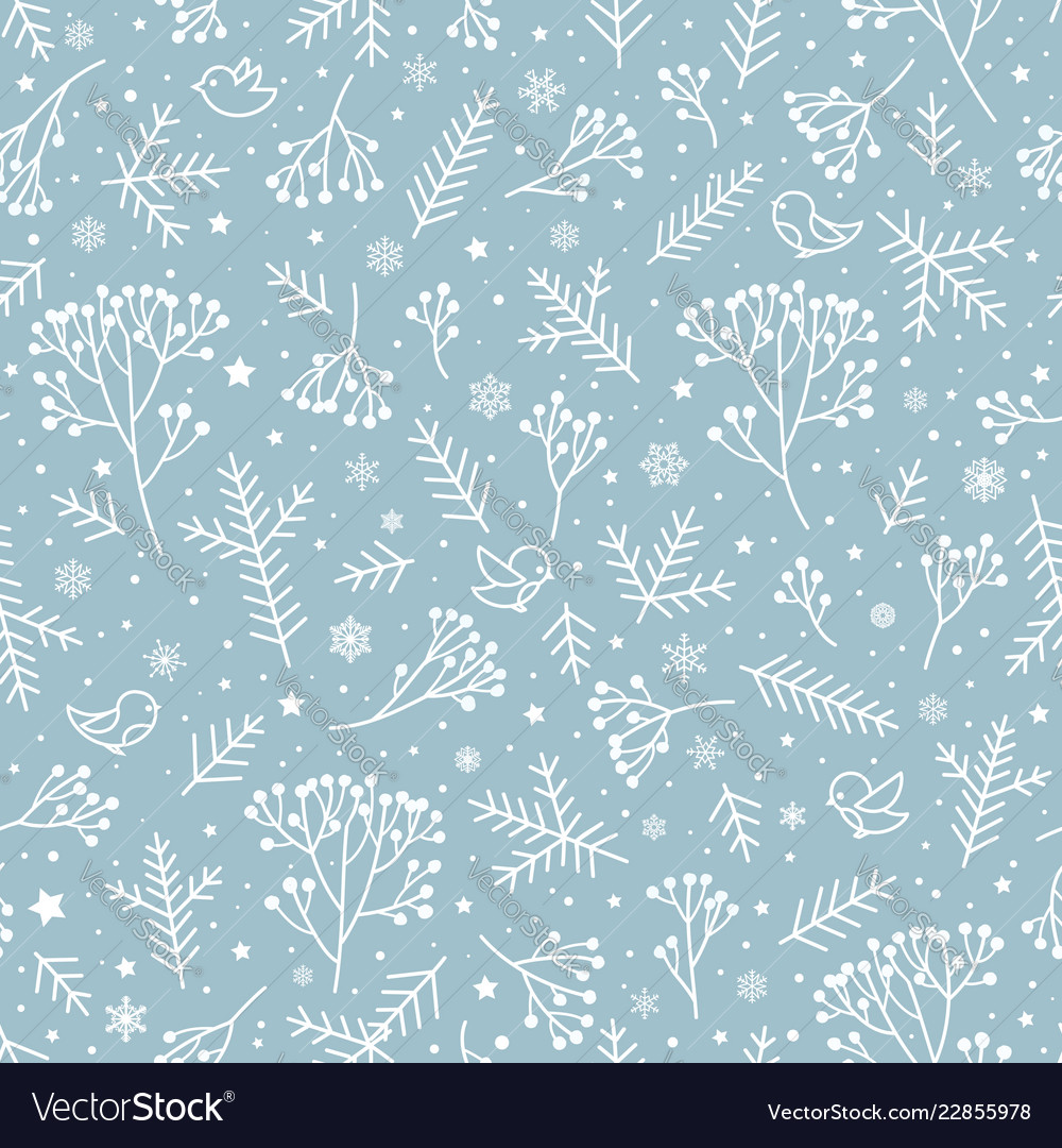 Winter holiday nature seamless floral pattern