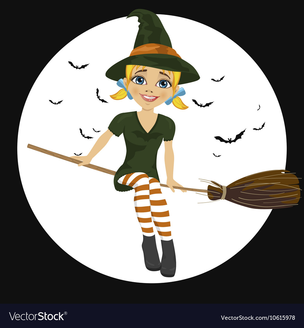 Witch in green dress flying on broom