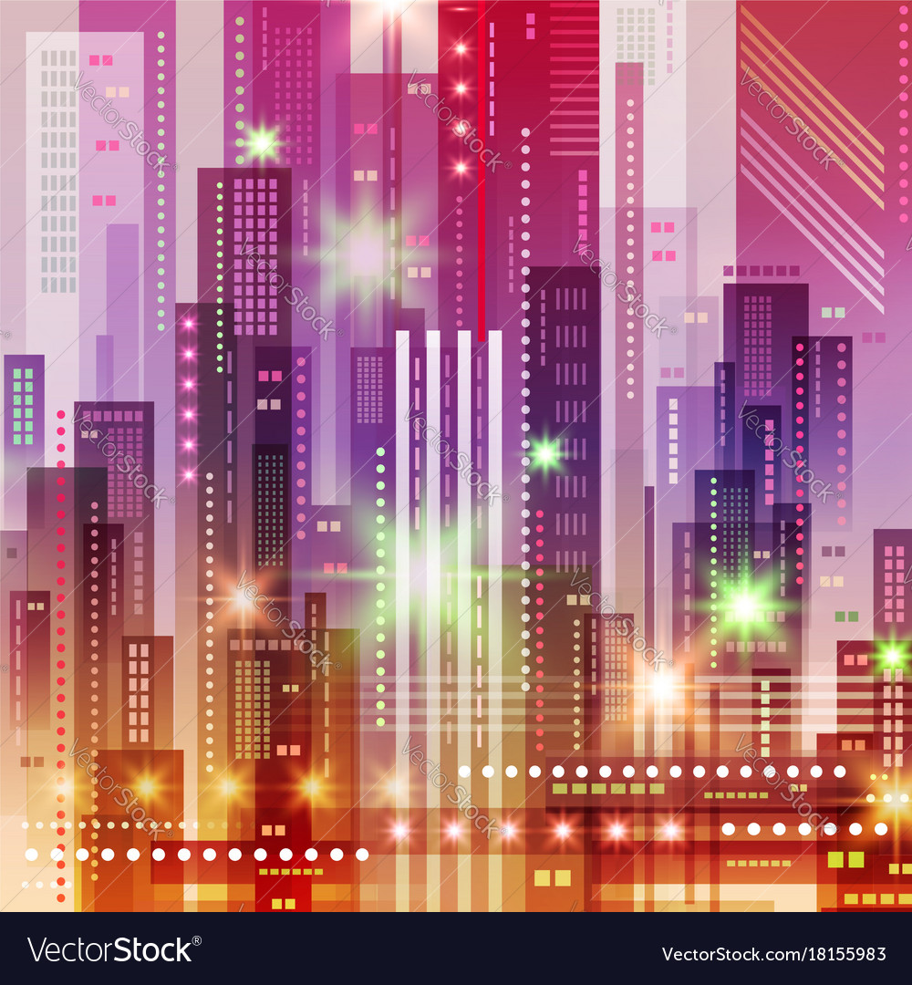 Background with night city futuristic vector image