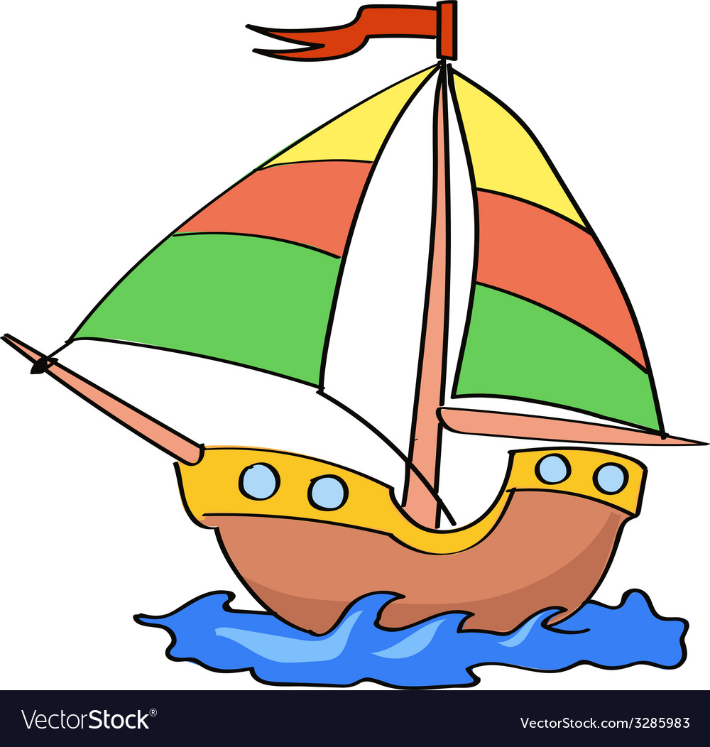 boat cartoon colorful on a white background vector image rh vectorstock com cartoon boat images cartoon rowing boat pictures