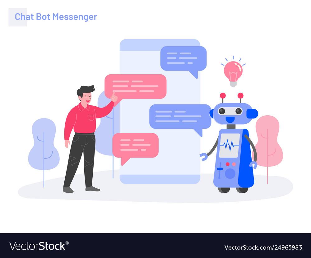 Chat bot messenger concept modern flat design