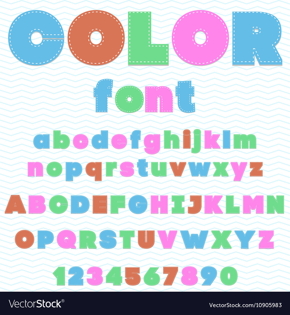 Colorful font made by threats kids font cartoon