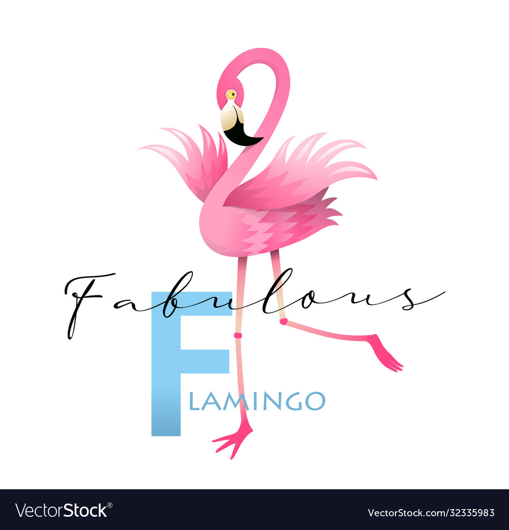 F is for flamingo alphabet teaching english card