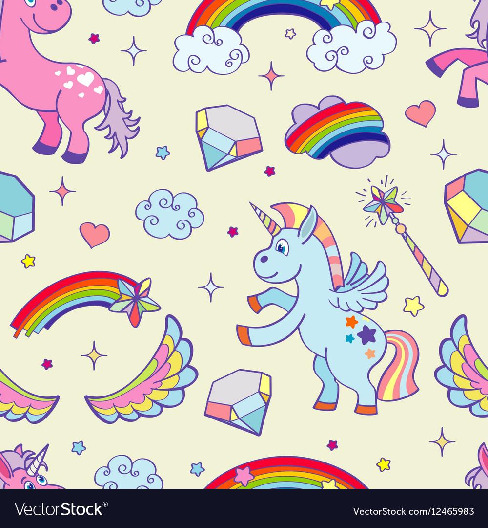 Hand drawn unicorns seamless pattern