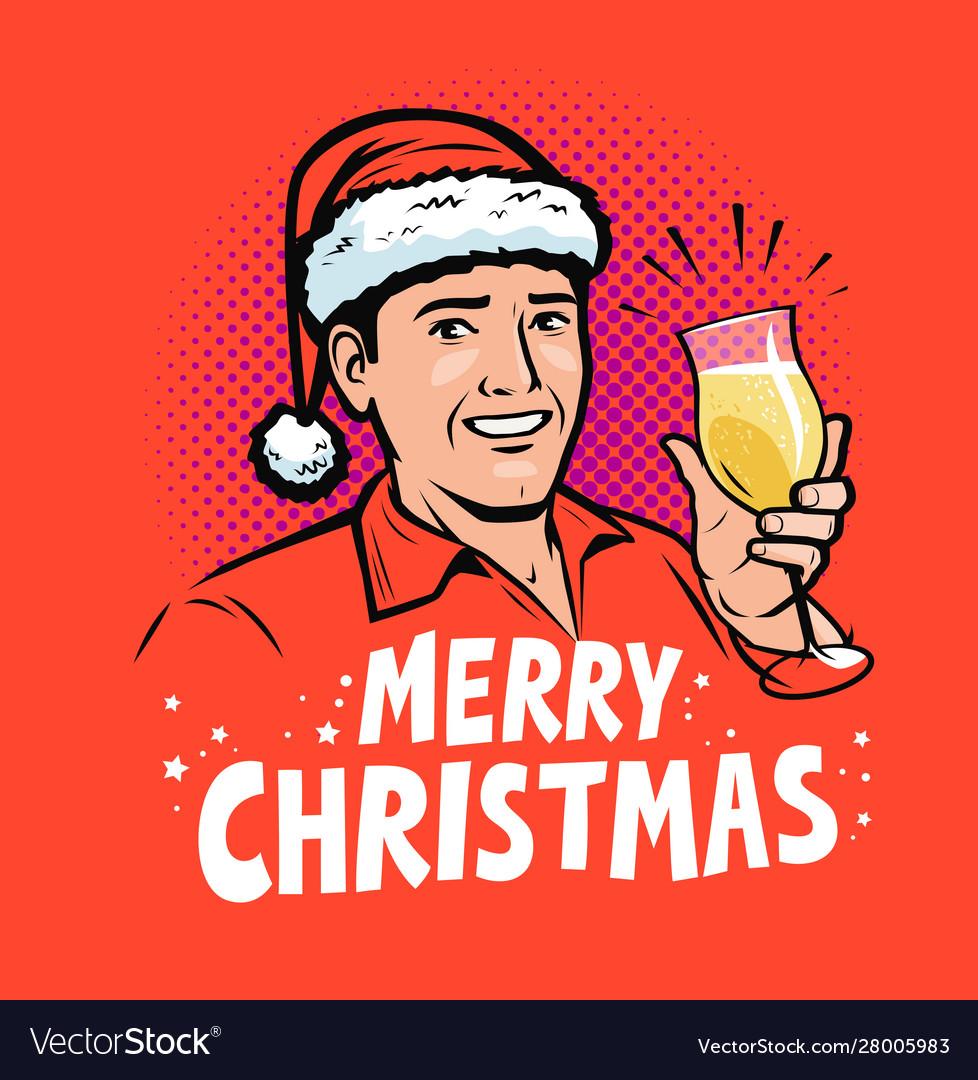 Merry christmas greeting card pop art retro comic