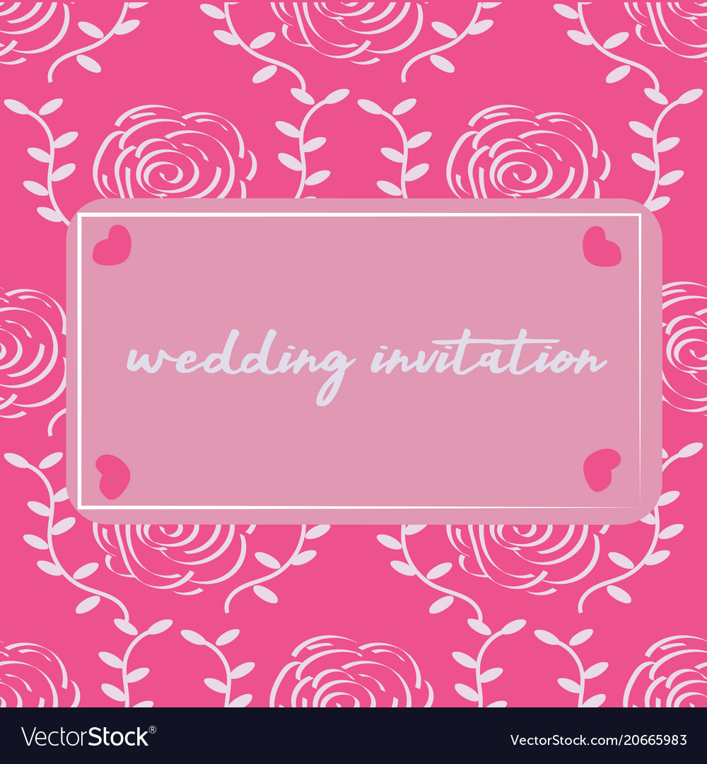 Modern wedding invitation with rose pattern