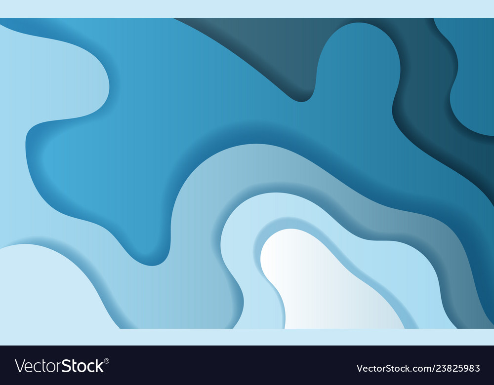 Paper Art And Craft Of Abstract Curve Shape Blue