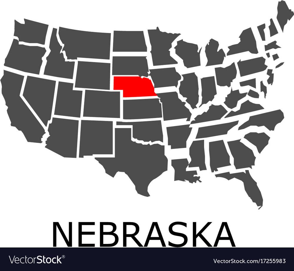 State of nebraska on map of usa