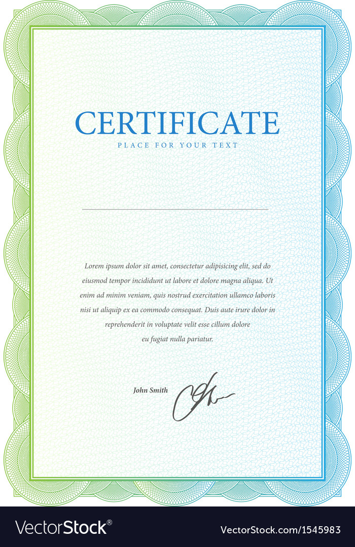 Template that is used in certificate currency and