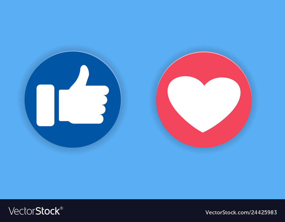Thumbs up and heart icon on a blue background