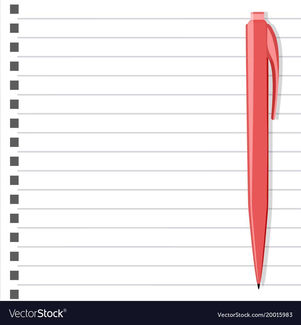 White notepad with pink pen Royalty Free Vector Image