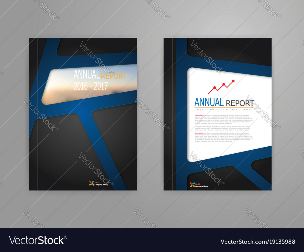 Abstract blue line on black background annual