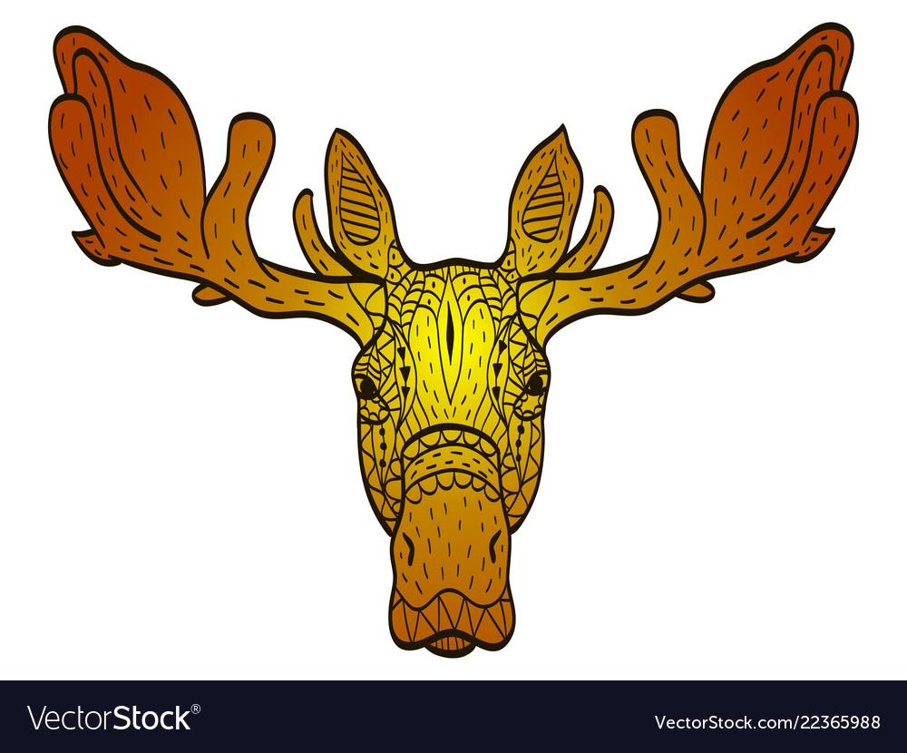 Antistress colored in orange shades moose head