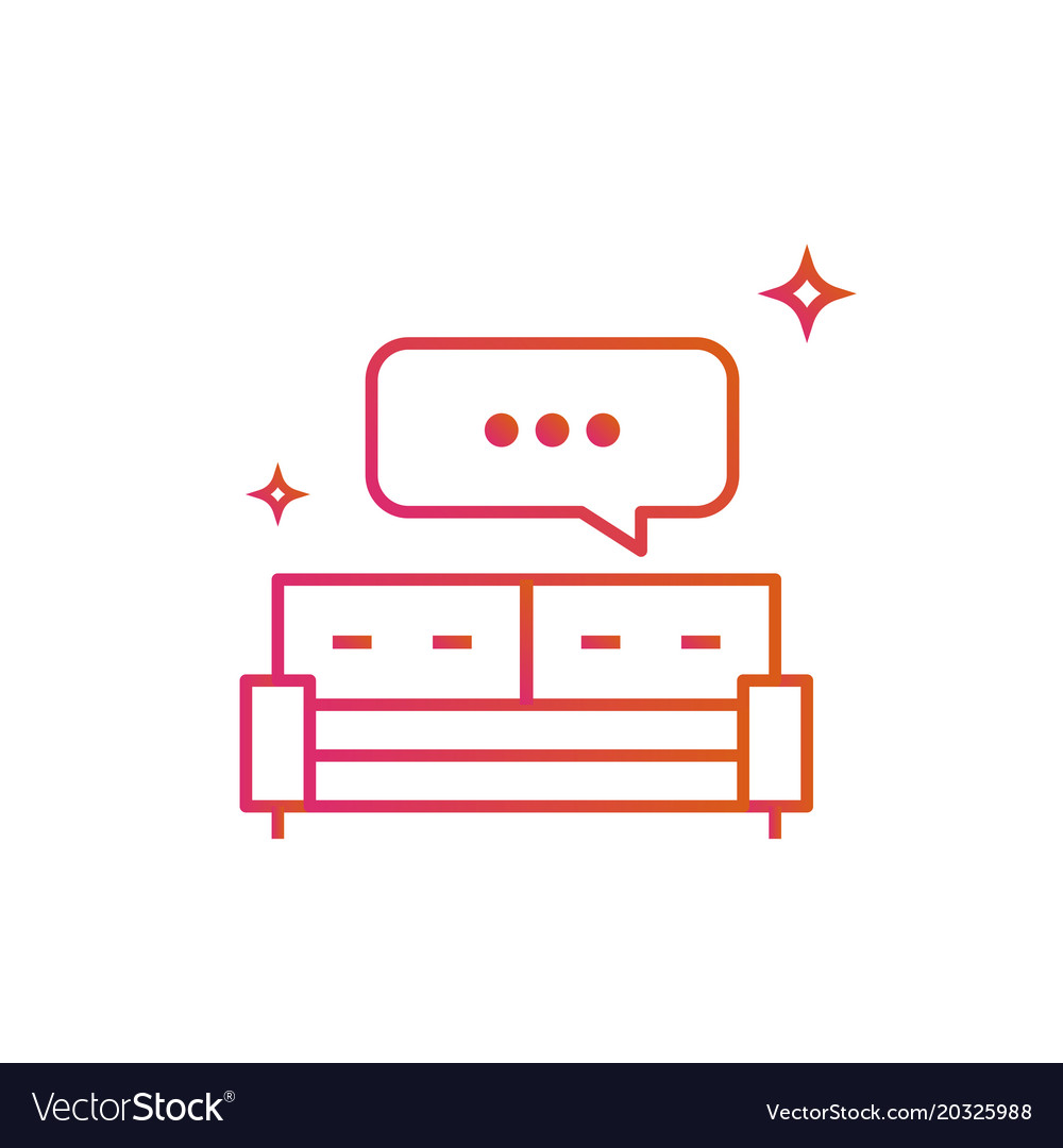 Bed or sofa speech bubble icon gradient line