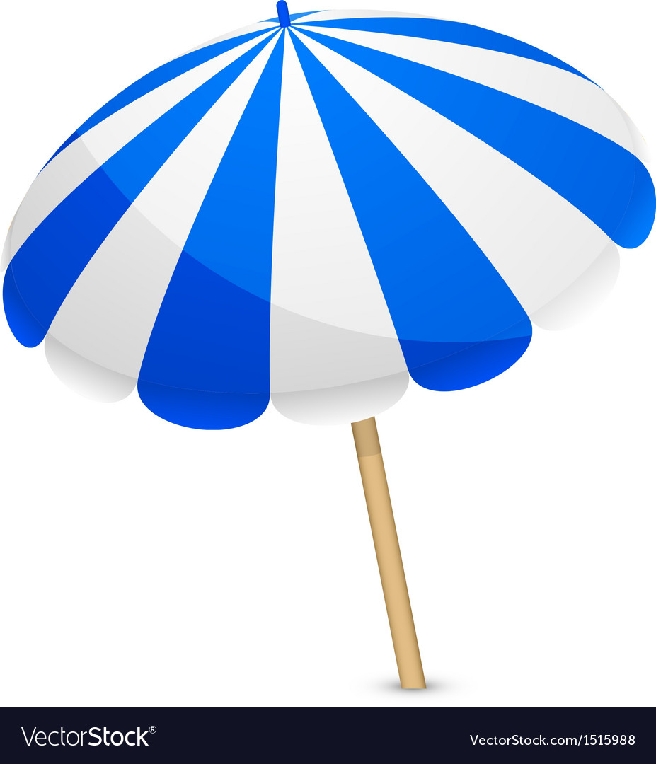 Blue and white parasol