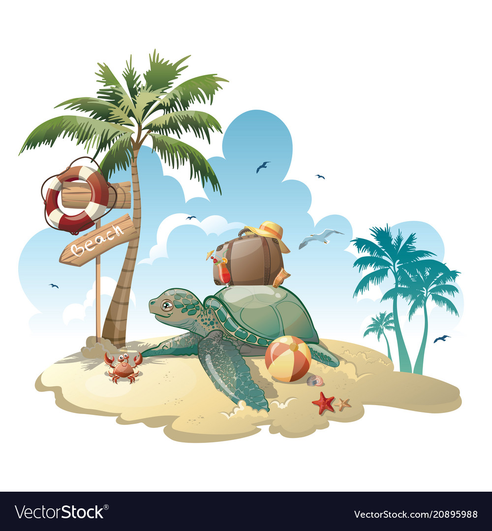Cartoon island with luggage in the sea