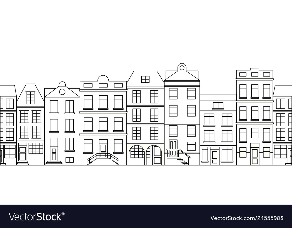 City skyline in line art style with buildings and