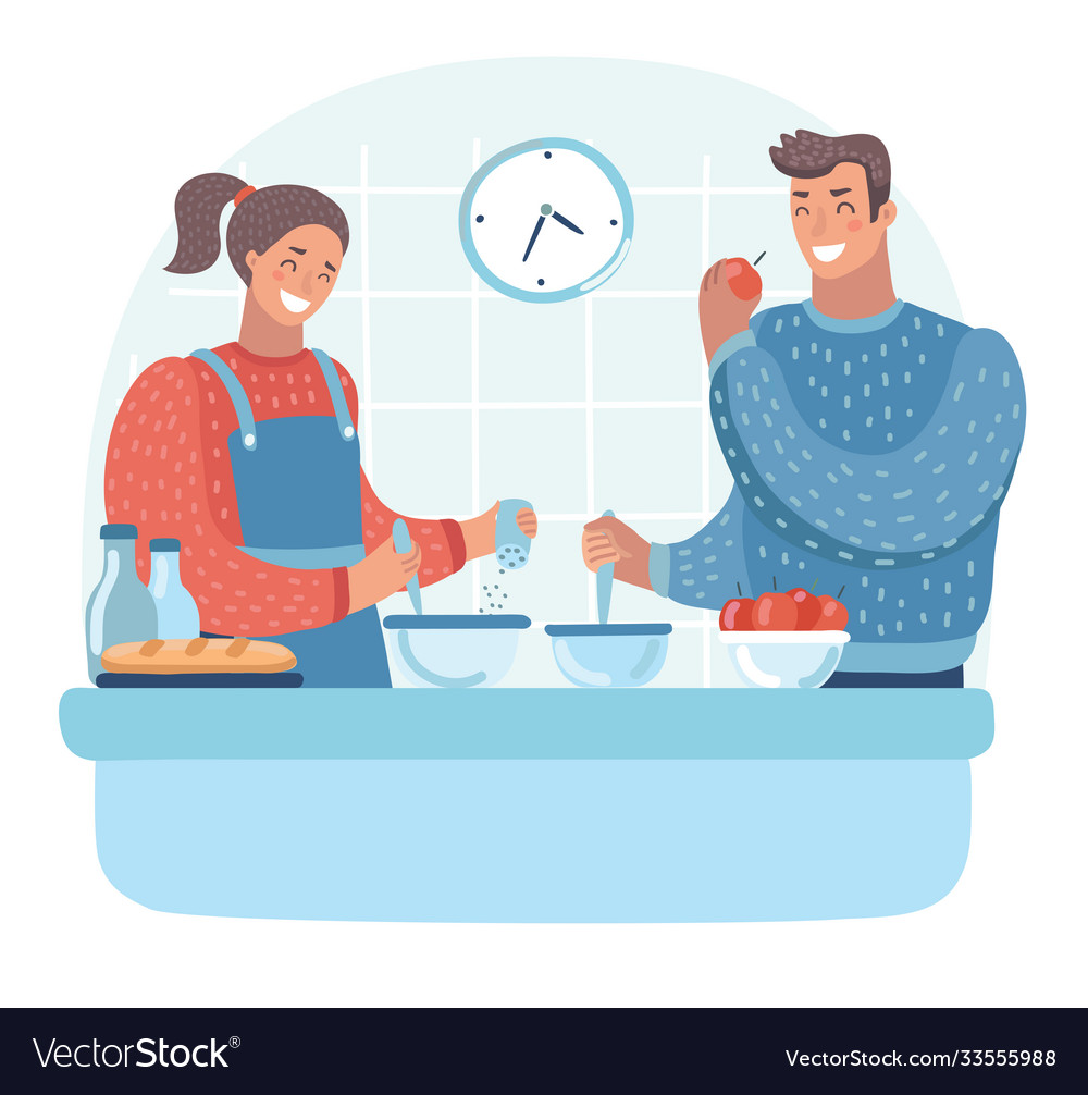 Couple in kitchen man and woman preparing