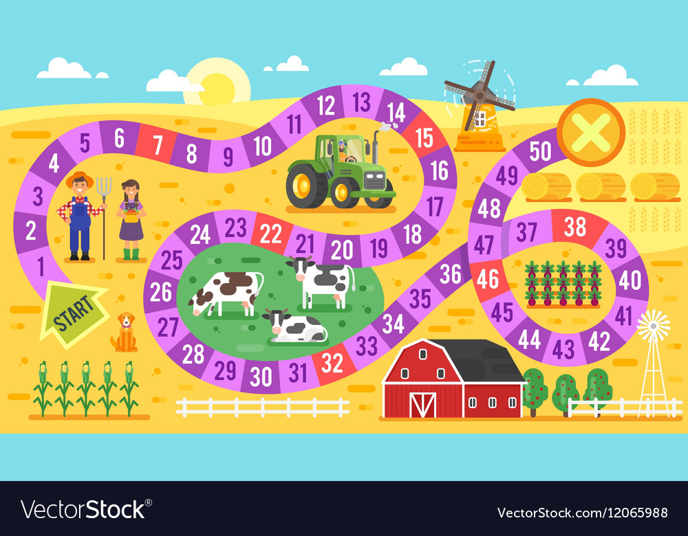 Flat style of kids farm board game template