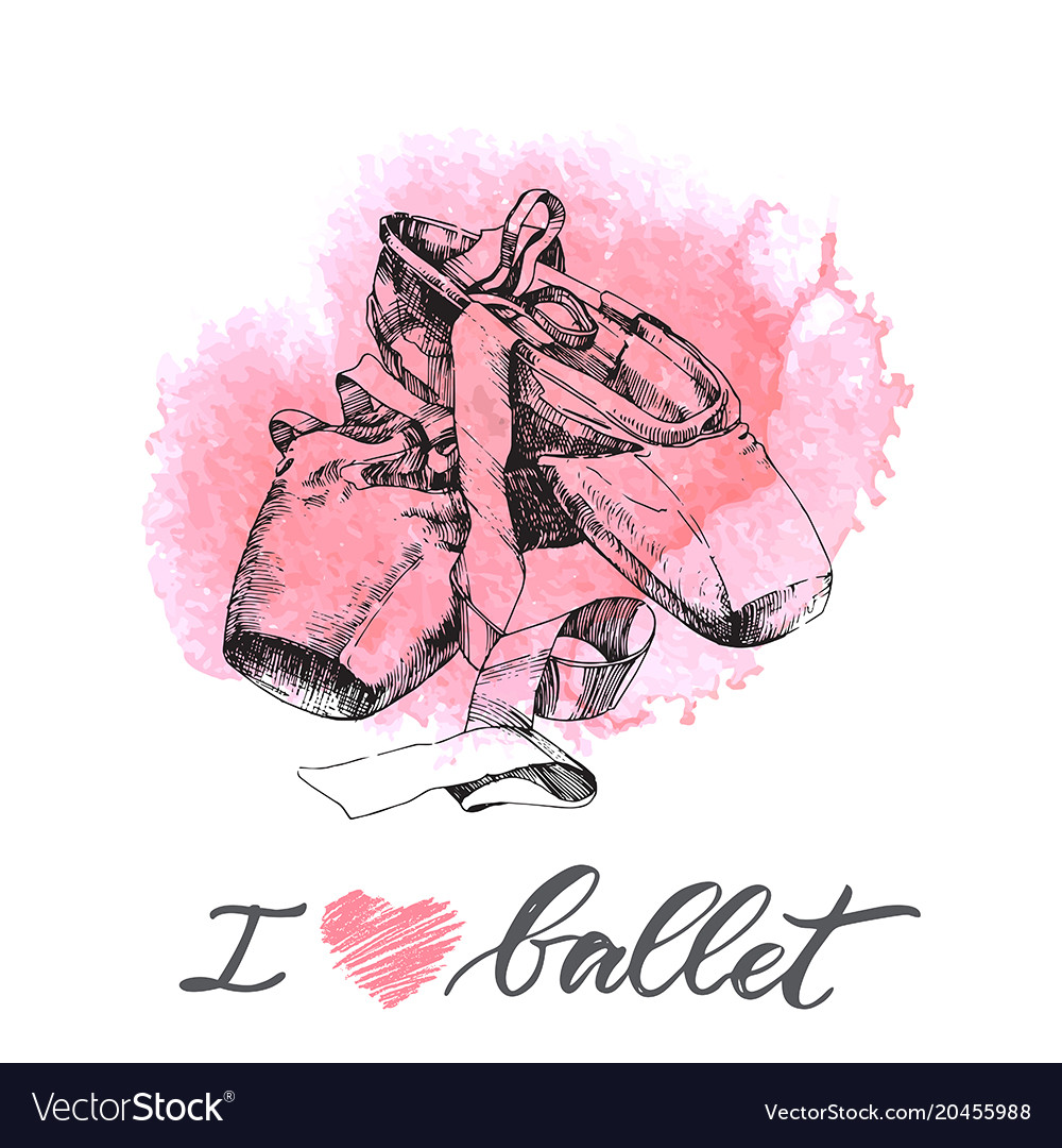 Hand drawn pair of well-worn ballet pointes shoes