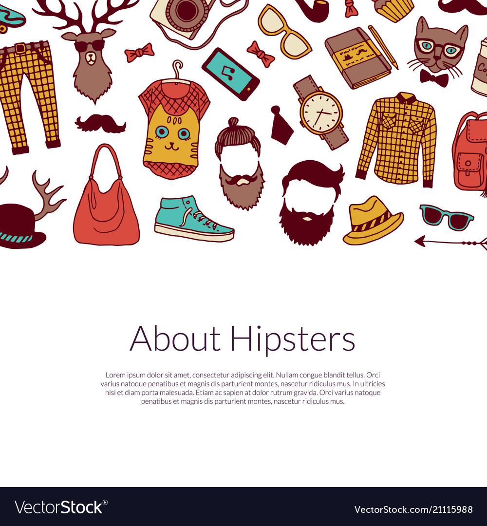 Hipster doodle icons background with place