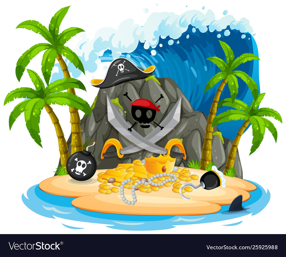 Isolated pirate island on white background