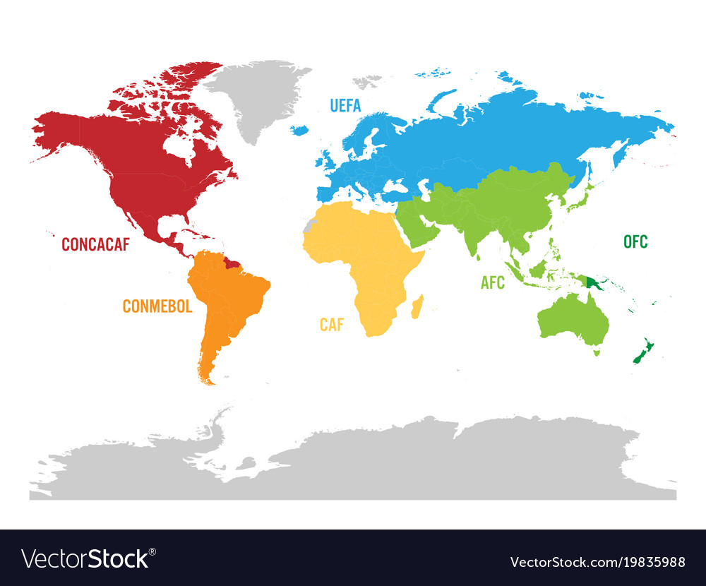Map of world football or soccer confederations vector image