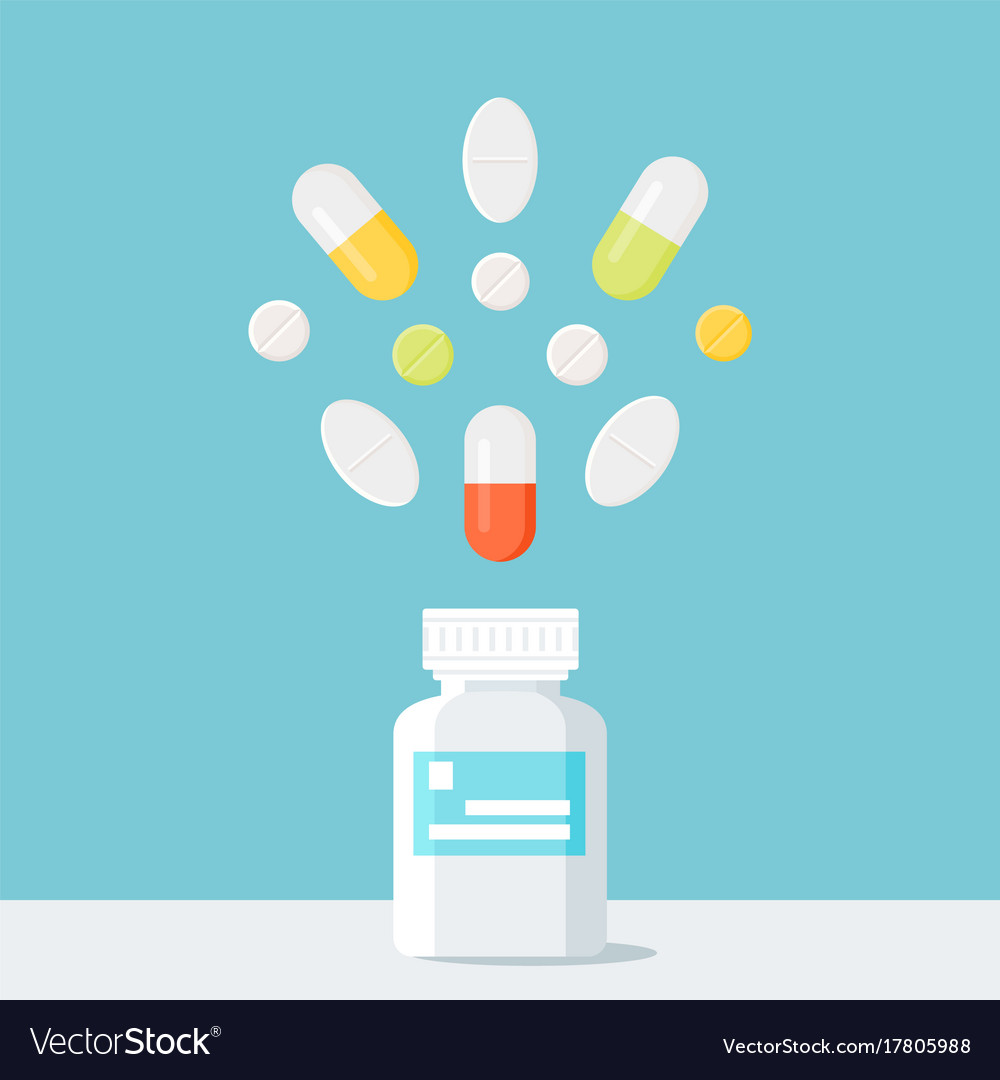 Medicine pills bottle with pills over it pharmacy vector image