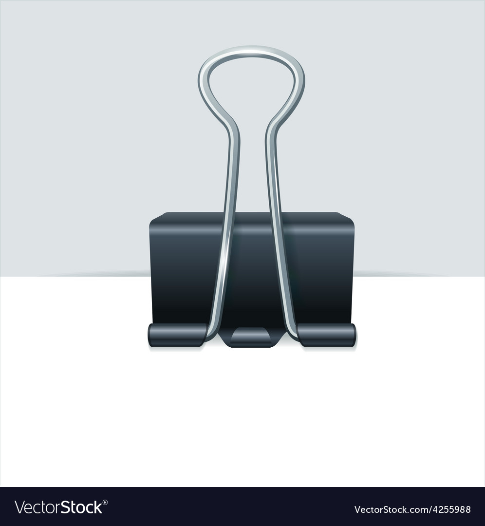 metal binder clip with paper royalty free vector image