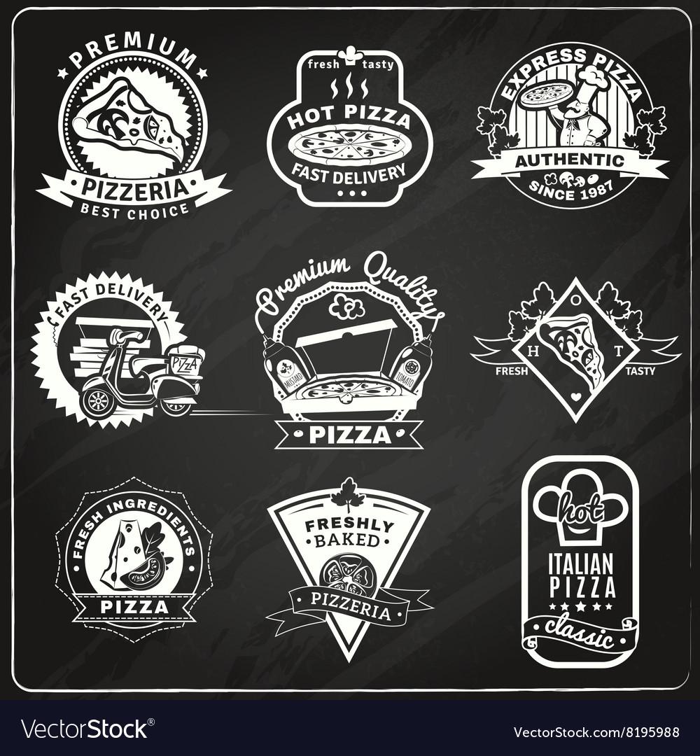 Pizza Chalkboard Emblems Set