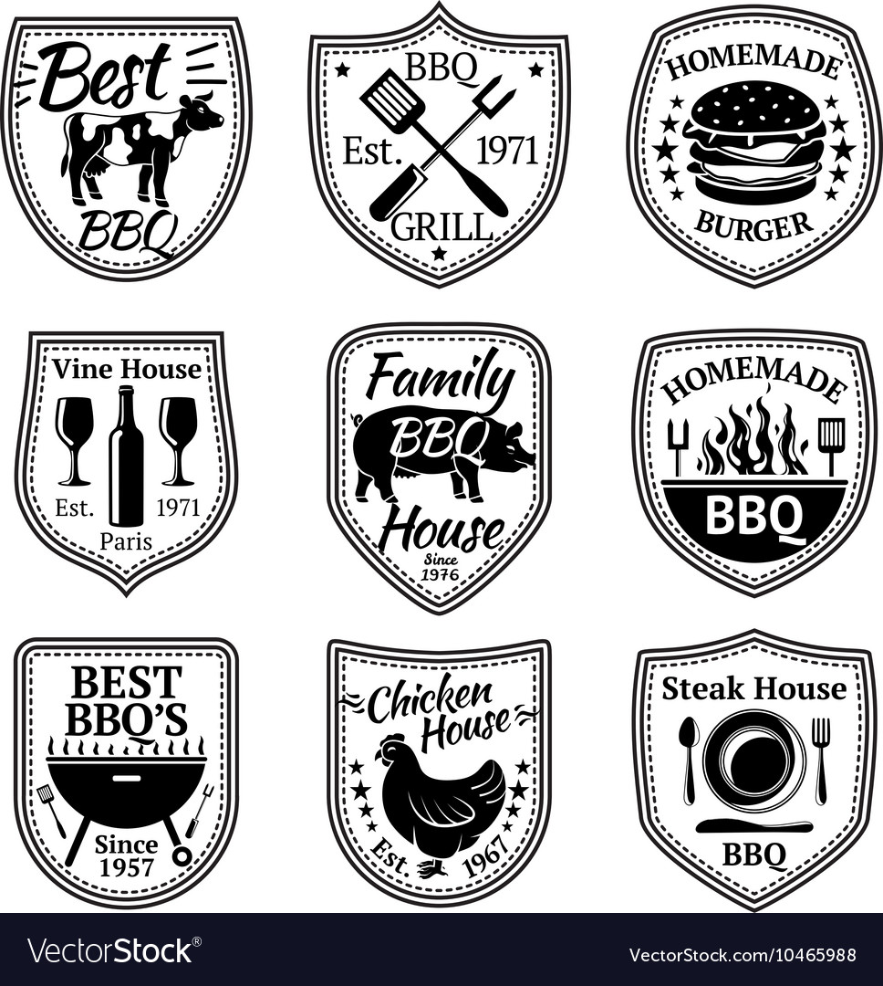 Set of grill barbecue and steak labels