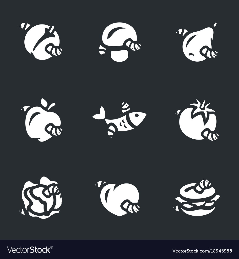 Set of spoiled food icons