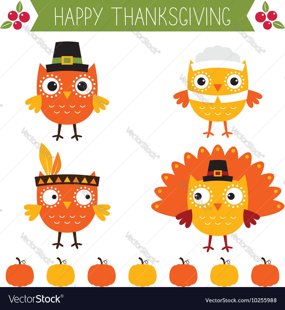 Thanksgiving set - cute owls