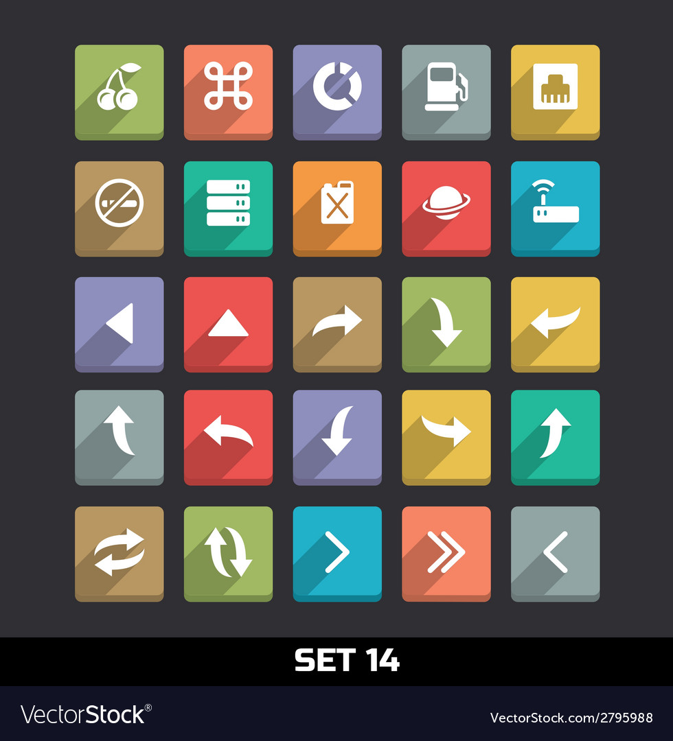 Trendy Icons With Long Shadow Set 14