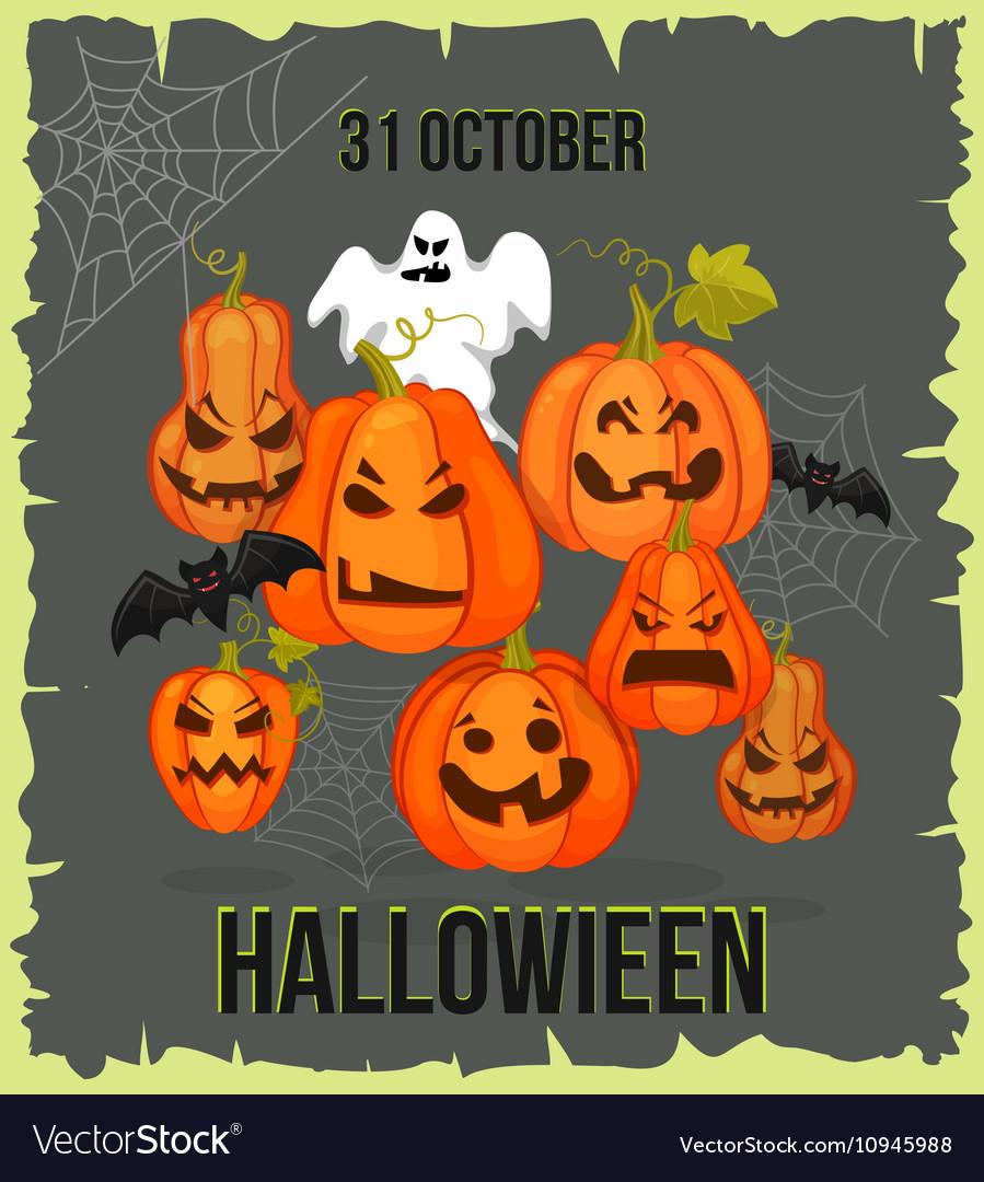 Vertical Halloween grunge banners with pumpkin