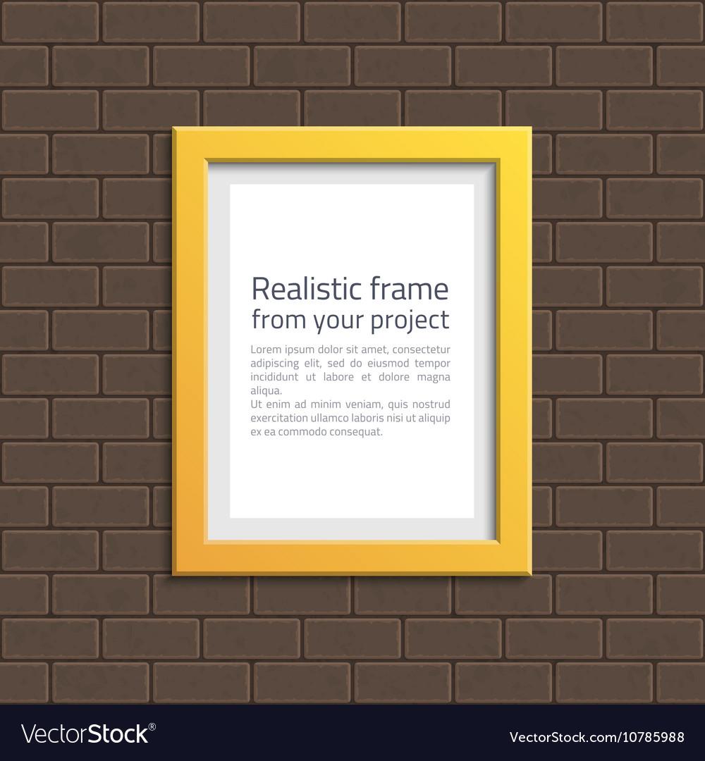 Yellow frame on white brick wall