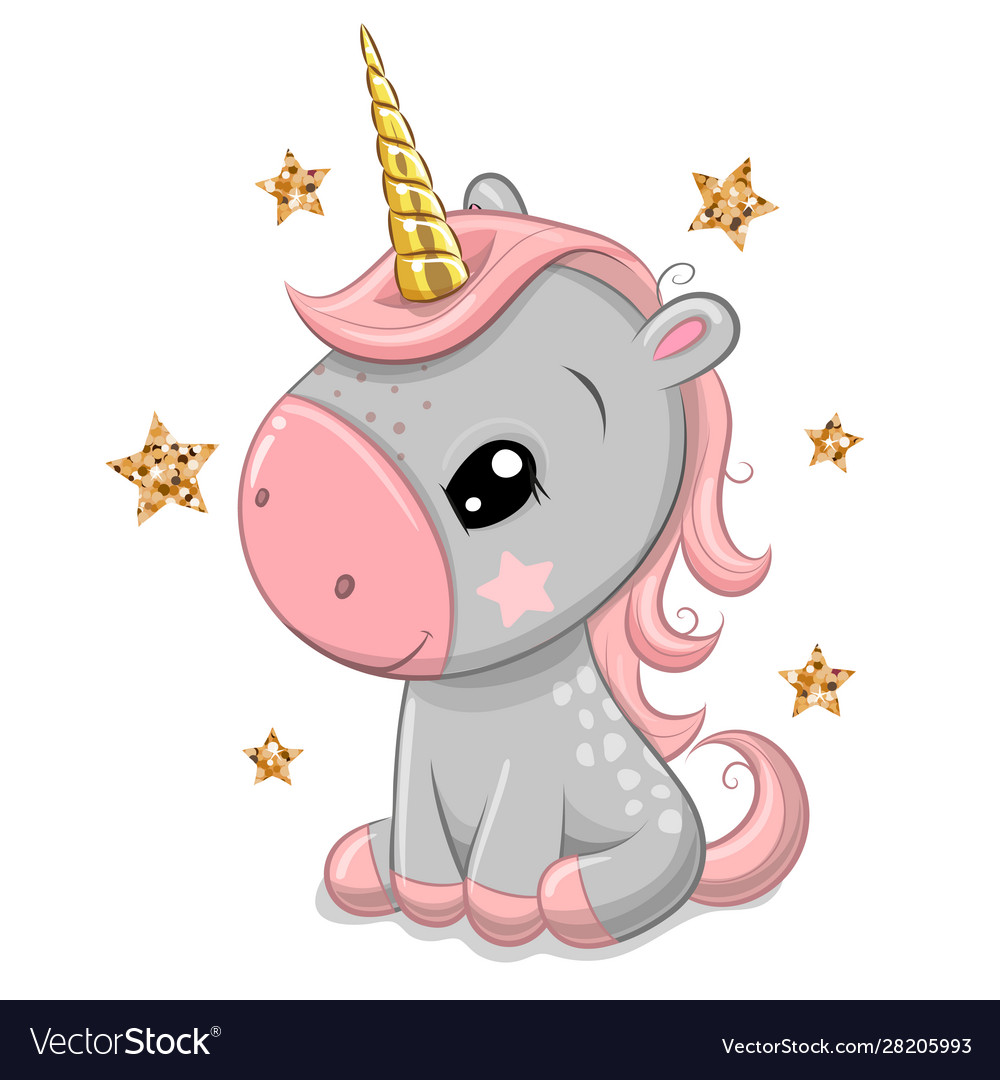 Cartoonl unicorn with gold horn isolated on a