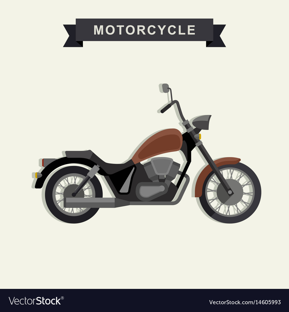 Chopper motorcycle in flat style vector image