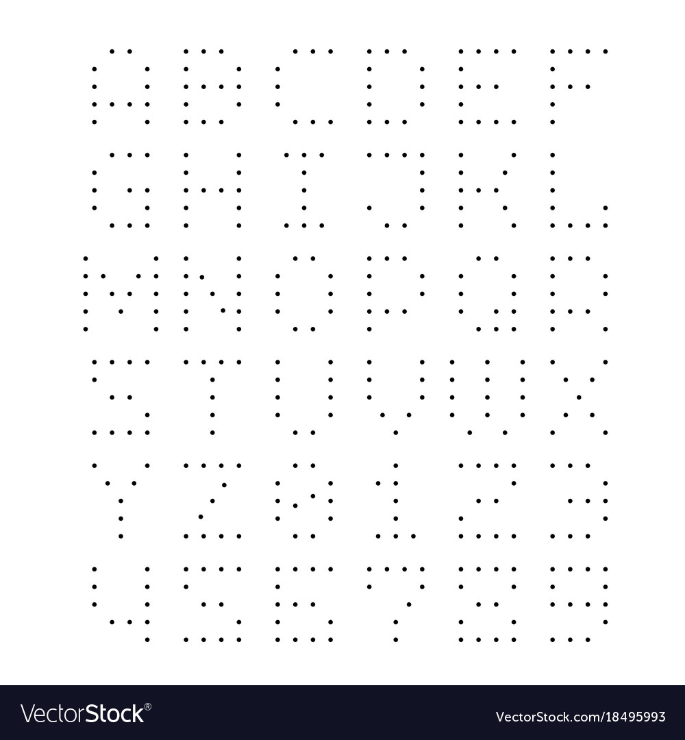Dotted font letters with small dots Royalty Free Vector