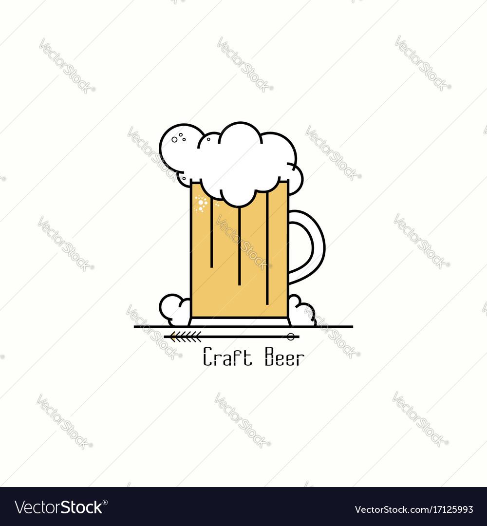 Glass of beer with foam line art badge logo