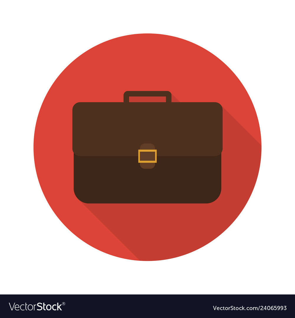 Icon briefcase with shadow flat sign