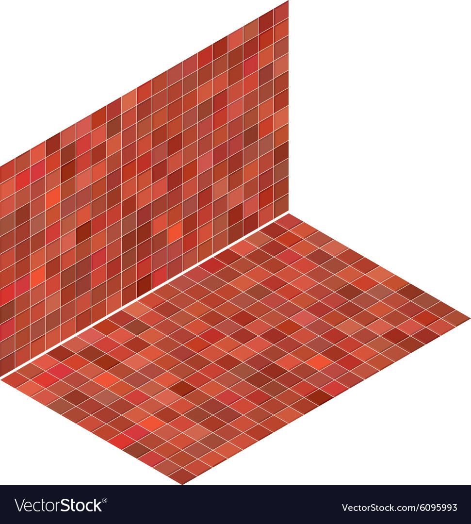 Isometric Tile Pattern Mixed Red Floor And Wall Vector Image