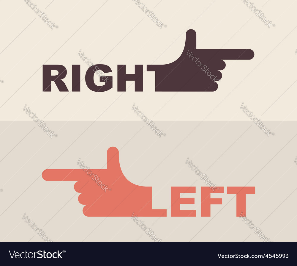 logo hand shows direction of right hand left hand vector image rh vectorstock com left hand side vector left hand palm vector
