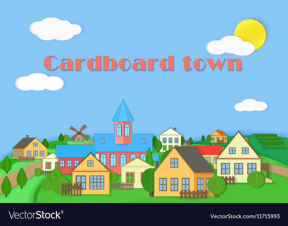 Old town cardboard village landscape Paper color