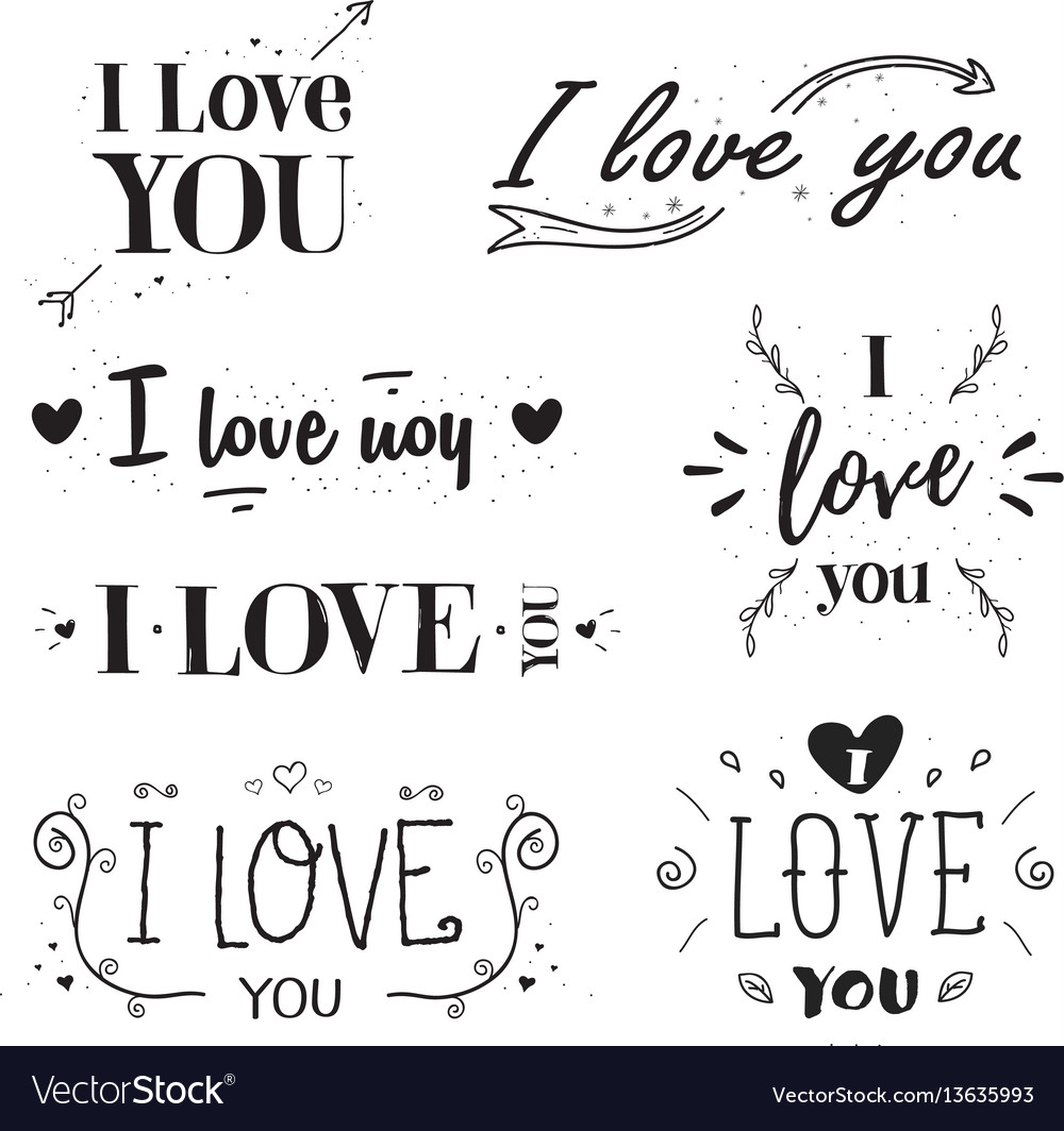Phrase i love you hand drawn lettering set